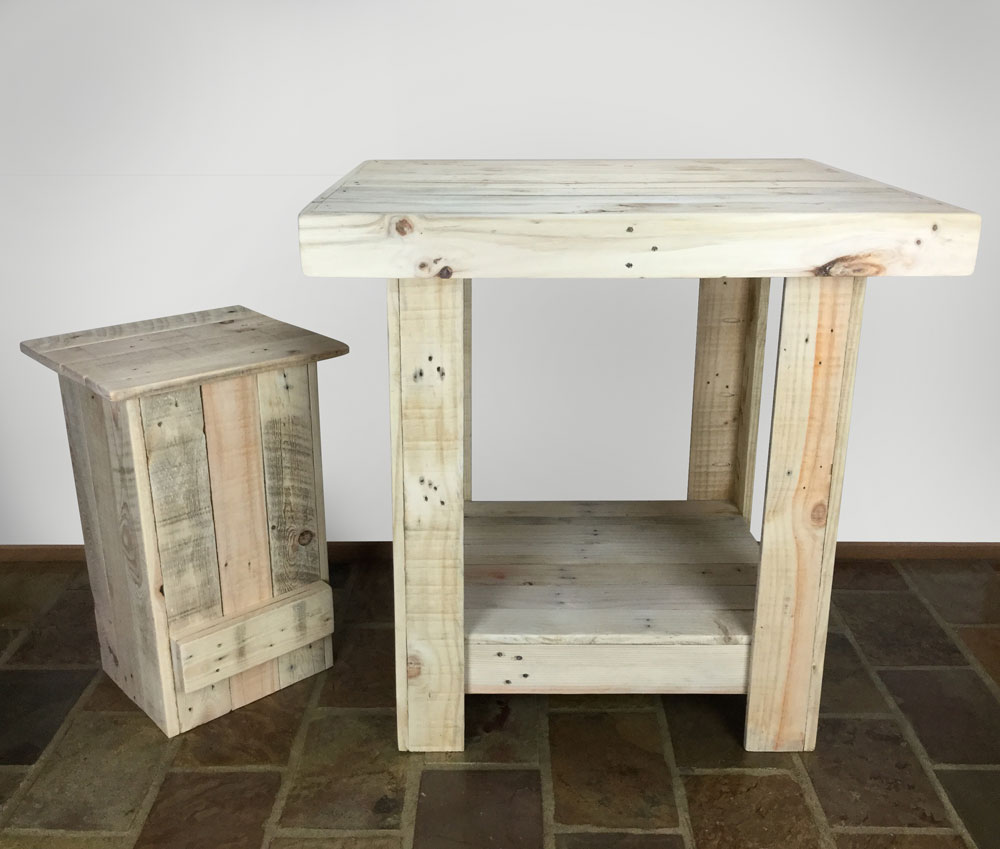 Recycled Timber Furniture - Table and Stool